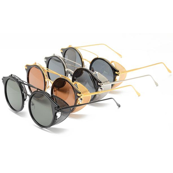STEAMPUNK LOOKING ROUND SHAPE, ASSORTED COLOR METAL  SUNGLASSES